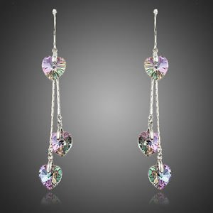 Austrian Crystal Long Drop Earrings Gradual Change Multi Color Crystal Earrings
