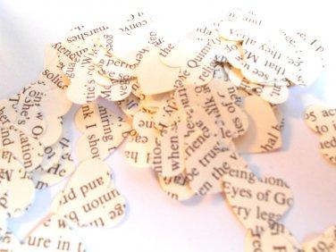 Book page confetti heart confetti recycled book page paper confetti