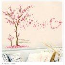 Pink Blossom Flower Tree Wall Sticker Bird Plum Art Decals Home Decor Mural