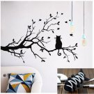 Tree and Black Cat Wall Sticker Home Decor Decal Mural DIY Removable Decor +Gift