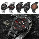 Silver Luxury Men Date Watches Steel Band Quartz Analog Sport Wrist Watch