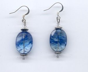 Blueberry Quartz & Clear Crystal Earrings