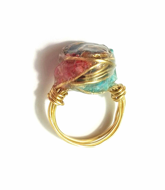 Gun slug gemstone ring