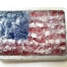 Patriotic flag glass Mosaic with bubbles rustic style