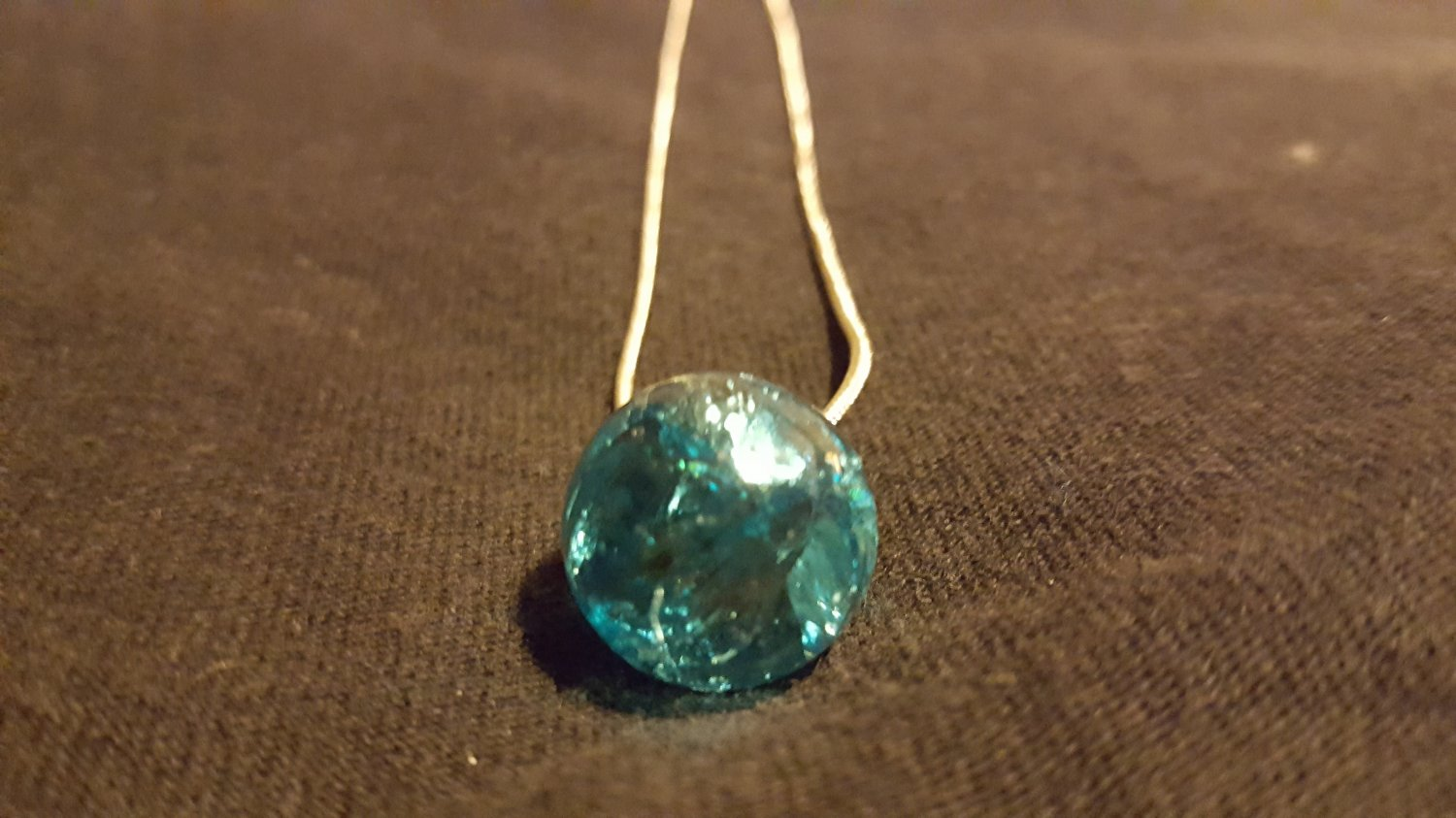 Blue Cracked Marble on Snake Chain