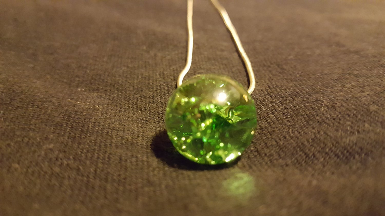 Green Cracked Marble on Snake Chain