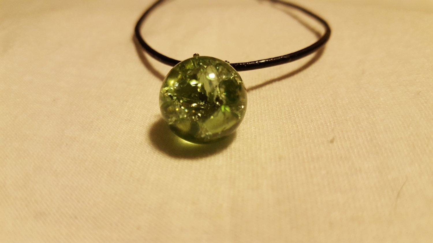 Green Cracked Marble on Leather Cord