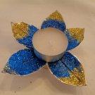 Glitter Flower Tealight - Blue & Gold