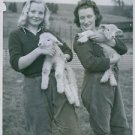 Girls with  lamb, smiling.  - 8x10 photo