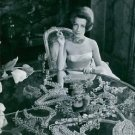 Countess Cis Zoltowska and her collection of jewelries. 1960 - 8x10 photo