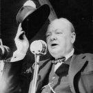 Winston Churchill at mike. - 8x10 photo