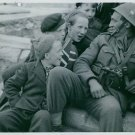 Children having a conversation with Norwegian soldier.  - 8x10 photo
