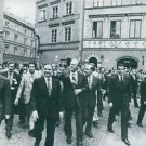 Gerald Rudolph Ford Jr walking in Warsaw with people.  - 8x10 photo
