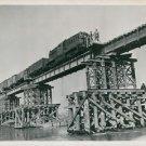 World War II. Allied train crosses new Rhine bridge - 8x10 photo