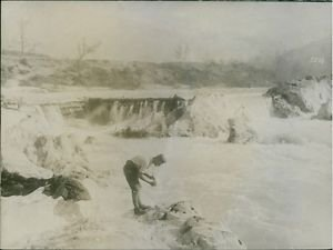 Man taking a Morning Toilet at Isonzo beside the river.1917 - 8x10 photo