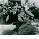 Spectators managed to get a glimpsed of Queen Elizabeth II and Shah Pahlavi in t