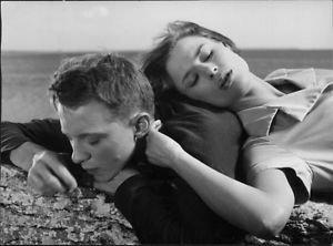 Harriet Andersson and Lars Passgárd in movie Sasom I En Spegel. - 8x10 photo