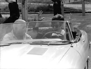 Audrey Hepburn cheering while driving a car. - 8x10 photo