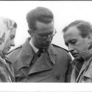 Queen Fabiola and Baudouin communicating with man.  - 8x10 photo