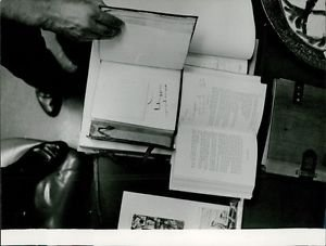 Ernest Hemingway. Overhead view of books.  - 8x10 photo