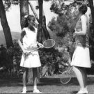 Julie Andrews playing badminton with girl, on set of Star!. - 8x10 photo