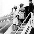 Queen Fabiola coming out of from aircraft.  - 8x10 photo