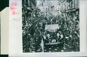 1945Field marshal Montgomery driving through the streets of the city. - 8x10 p
