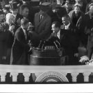 John F. Kennedy hand shaking with man. - 8x10 photo