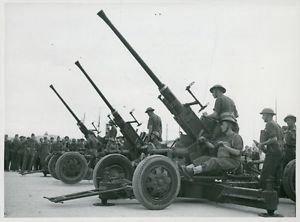 World War II. British anti-aircraft guns ready for action - 8x10 photo