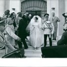 Hussein bin Talal stepping down with his wife, people around him.  - 8x10 photo