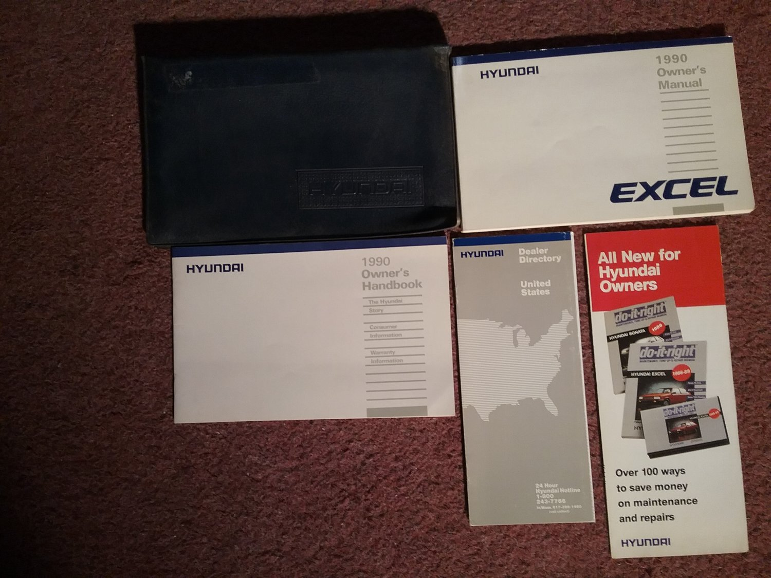 1990 Hyundai Excel Owner's Manual with Sleeve 07071695