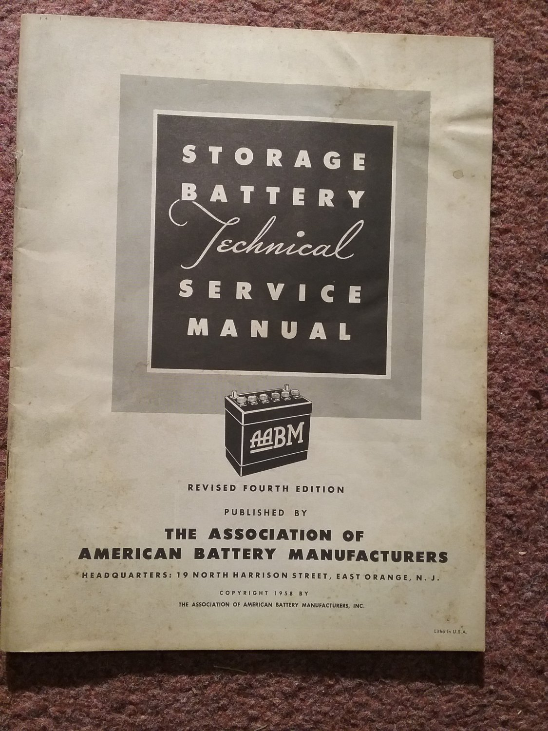 Vintage 1958 Storage Batteryt Technical Service Manual 070716118