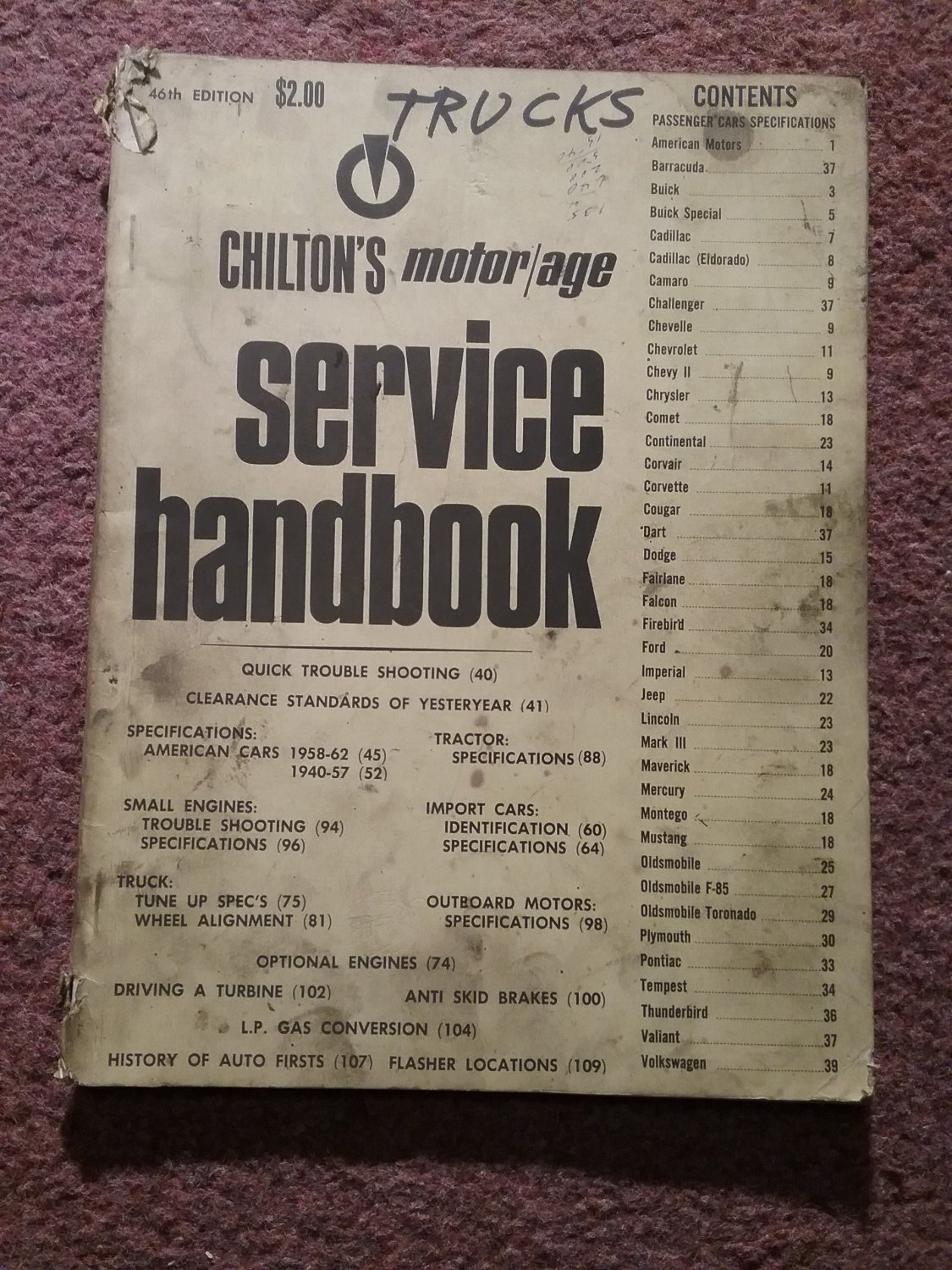 1971 46th Edition Chiltons Service Handbook, Passenget Cars Trucks 070716121