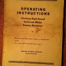 Vintage Operating Instructions Peerless High Speed Univeral Saw 070716230
