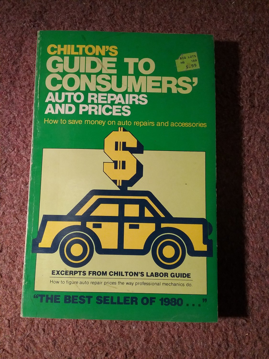 Vintage 1980 Chilton's Guide to Consumers' Auto Repair Prices 070716279