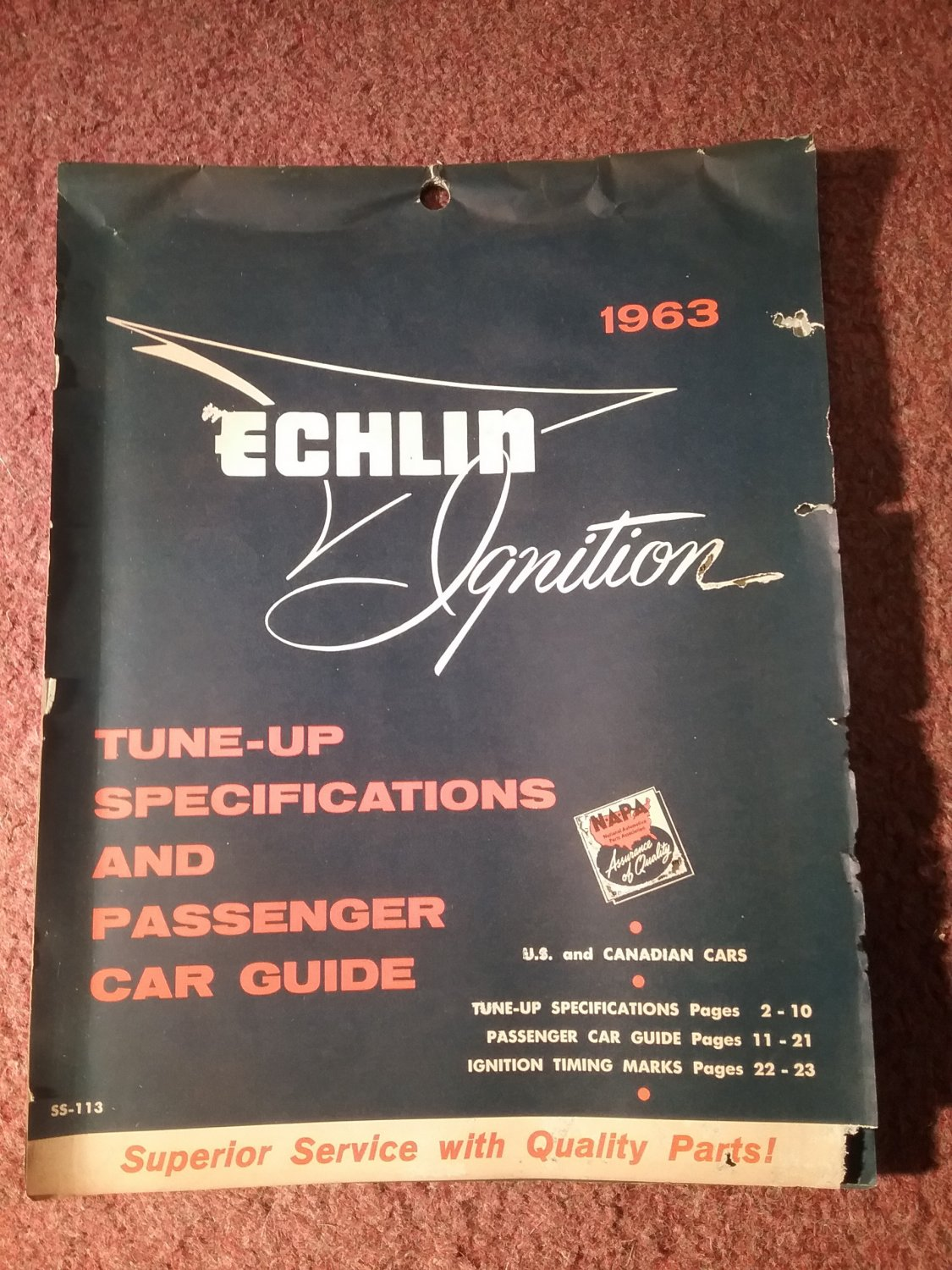 Vintage 1963 Echlin Ignition Tune-Up Specs SS-113 070716269