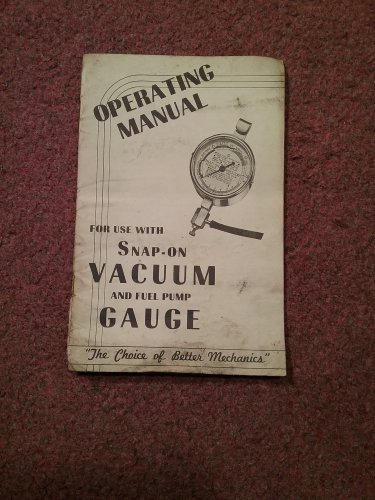 Vintage Operating Manual Snap-on Vacuum Gauge  070716488