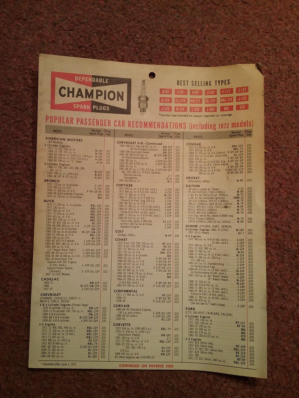 1972 Champion Spark plug Part Catalog Hanger ( 1 page) 070716557