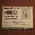 1950 Power Jet Carburetor Part Catalog Ad 070716554