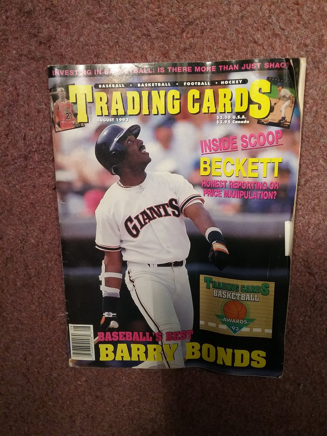 Trading Cards Magazine, August 1993 Barry Bonds Cover 0707161002