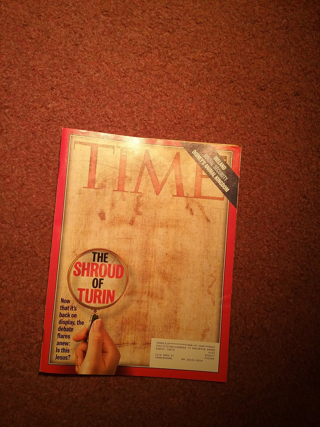 Time Magazine, April 20, 1998, The Shroud of Turin   0707161465