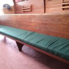 4 12' Vintage Church Pews, Wooden, Green Upholstery, Pocket Crosby Lumber Co.