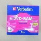 New Verbatim DVD-RAM 4.7gb 3speed 120min professional 5 pack removable