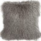 PIllow Decor - Genuine Mongolian Tibetan Sheepskin Lamb Wool Gray Throw Pillow