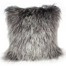 PIllow Decor - Genuine Mongolian Tibetan Sheepskin Lamb Wool Frosted Gray