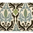 Pillow Decor - Linen Damask Print Blue Brown 12x20 Throw Pillow