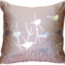 Pillow Decor - Metallic Birds Faded Rose Throw Pillow  - SKU: VC1-0008-02-19
