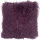 PIllow Decor - Genuine Mongolian Tibetan Sheepskin Lamb Wool Purple Throw Pillow