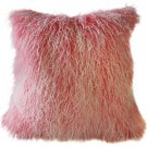 PIllow Decor - Genuine Mongolian Tibetan Sheepskin Lamb Wool Frosted Pink