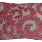 Pillow Decor - Brackendale Ferns Pink Rectangular Throw Pillow